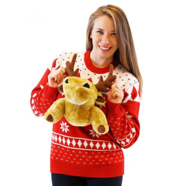 3d Christmas Sweater With Stuffed Moose Uglysweatercompany